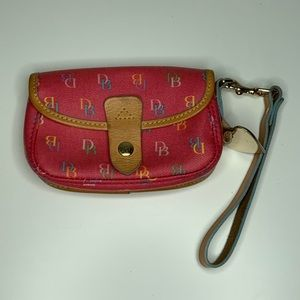 Dooney & Burke Pink Logo Wristlet Clutch Purse
